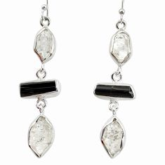15.85cts natural white herkimer diamond 925 silver dangle earrings d40356