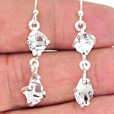 8.55cts natural white herkimer diamond 925 silver dangle earrings jewelry t14466