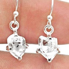 5.28cts natural white herkimer diamond 925 silver dangle earrings jewelry t50790