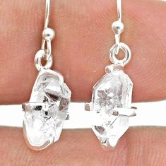 5.28cts natural white herkimer diamond 925 silver dangle earrings jewelry t50798