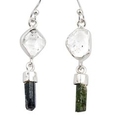 13.13cts natural white herkimer diamond 925 silver dangle earrings r38361