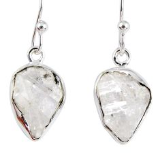 9.37cts natural white herkimer diamond 925 silver dangle earrings r55477