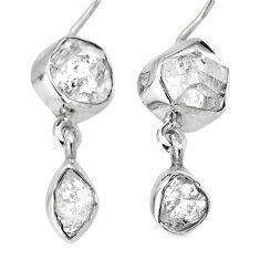 12.96cts natural white herkimer diamond 925 silver dangle earrings r61486