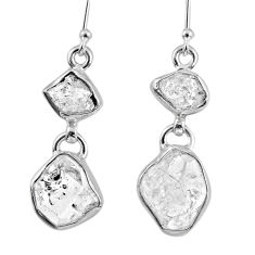 12.91cts natural white herkimer diamond 925 silver dangle earrings r61494