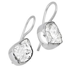 10.32cts natural white herkimer diamond 925 silver dangle earrings r61501