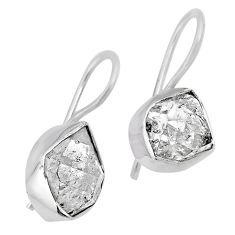 10.32cts natural white herkimer diamond 925 silver dangle earrings r61502