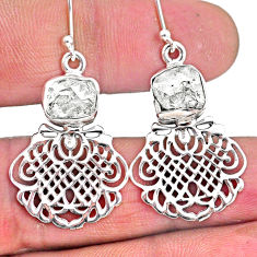 11.27cts natural white herkimer diamond 925 silver dangle earrings r61534