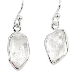 10.76cts natural white herkimer diamond 925 silver dangle earrings r63221