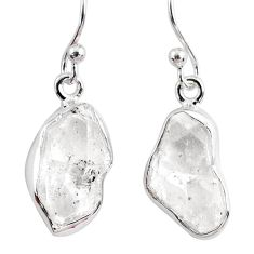 10.27cts natural white herkimer diamond 925 silver dangle earrings r63239