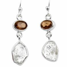 10.95cts natural white herkimer diamond 925 silver dangle earrings r65688