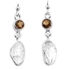 10.42cts natural white herkimer diamond 925 silver dangle earrings r65689