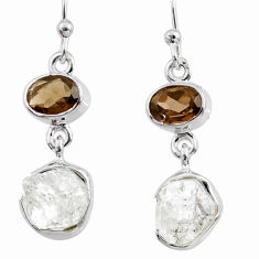 10.97cts natural white herkimer diamond 925 silver dangle earrings r65694