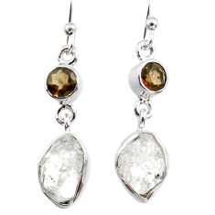 10.33cts natural white herkimer diamond 925 silver dangle earrings r65695