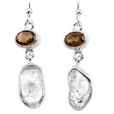 11.71cts natural white herkimer diamond 925 silver dangle earrings r65696