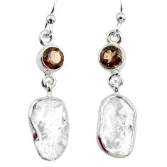 11.89cts natural white herkimer diamond 925 silver dangle earrings r65699