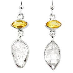 11.64cts natural white herkimer diamond 925 silver dangle earrings r65701