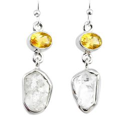 12.12cts natural white herkimer diamond 925 silver dangle earrings r65702
