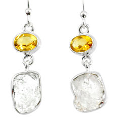 13.02cts natural white herkimer diamond 925 silver dangle earrings r65703