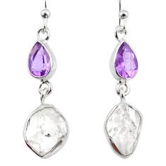 11.57cts natural white herkimer diamond 925 silver dangle earrings r65714