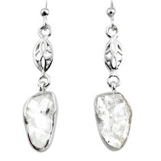 9.86cts natural white herkimer diamond 925 silver dangle earrings r65733