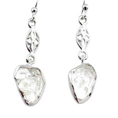 9.22cts natural white herkimer diamond 925 silver dangle earrings r65735