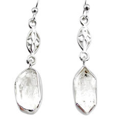 9.25cts natural white herkimer diamond 925 silver dangle earrings r65740
