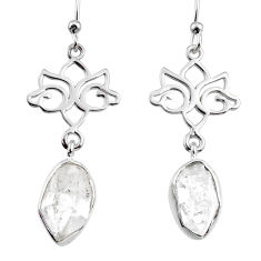 11.13cts natural white herkimer diamond 925 silver dangle earrings r65741