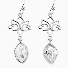 10.19cts natural white herkimer diamond 925 silver dangle earrings r65742
