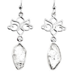 12.56cts natural white herkimer diamond 925 silver dangle earrings r65743