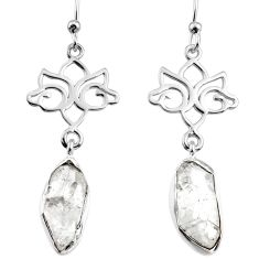 12.60cts natural white herkimer diamond 925 silver dangle earrings r65745