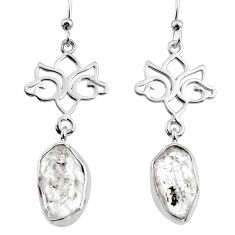 11.89cts natural white herkimer diamond 925 silver dangle earrings r65750