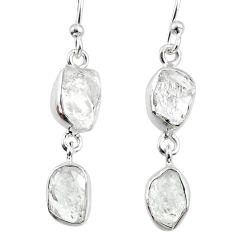 10.10cts natural white herkimer diamond 925 silver dangle earrings r65781