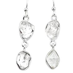 11.57cts natural white herkimer diamond 925 silver dangle earrings r65782