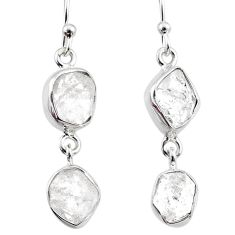 12.12cts natural white herkimer diamond 925 silver dangle earrings r65783