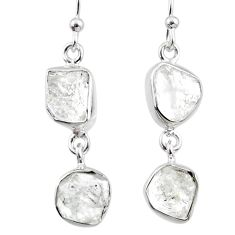 12.17cts natural white herkimer diamond 925 silver dangle earrings r65785