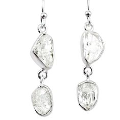 11.68cts natural white herkimer diamond 925 silver dangle earrings r65786