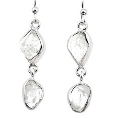 11.18cts natural white herkimer diamond 925 silver dangle earrings r65787