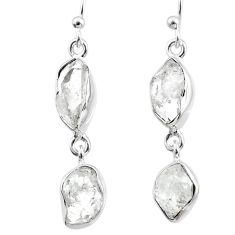 12.05cts natural white herkimer diamond 925 silver dangle earrings r65789