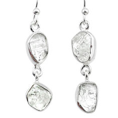 10.65cts natural white herkimer diamond 925 silver dangle earrings r65790