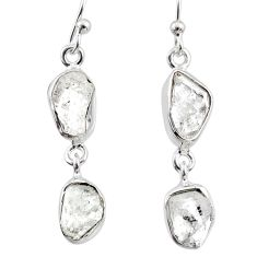 11.15cts natural white herkimer diamond 925 silver dangle earrings r65792