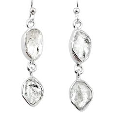 11.68cts natural white herkimer diamond 925 silver dangle earrings r65793