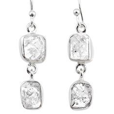 11.41cts natural white herkimer diamond 925 silver dangle earrings r65794