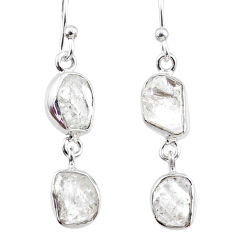 11.15cts natural white herkimer diamond 925 silver dangle earrings r65796