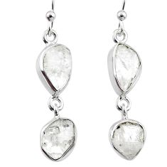 10.88cts natural white herkimer diamond 925 silver dangle earrings r65797