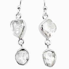 11.09cts natural white herkimer diamond 925 silver dangle earrings r65798