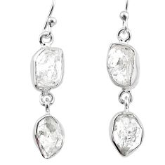 11.89cts natural white herkimer diamond 925 silver dangle earrings r65800