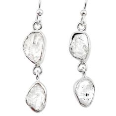 11.02cts natural white herkimer diamond 925 silver dangle earrings r65803