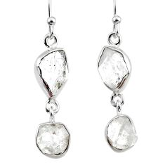 11.09cts natural white herkimer diamond 925 silver dangle earrings r65804