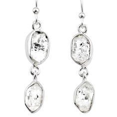 11.18cts natural white herkimer diamond 925 silver dangle earrings r65806