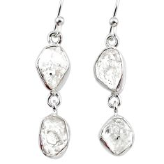 10.49cts natural white herkimer diamond 925 silver dangle earrings r65807